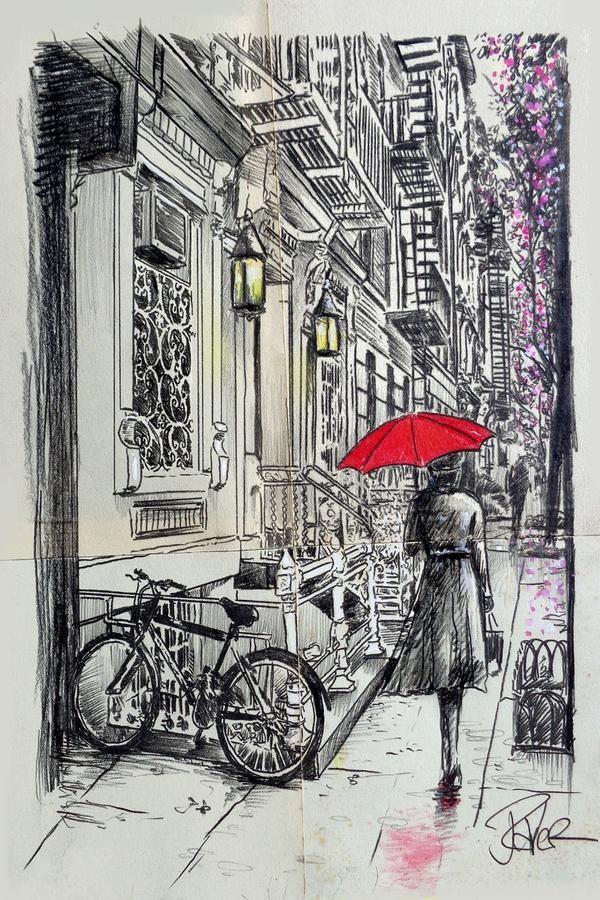 Afternoon Walk | ' capillini in 2019 | Ink pen drawings, Drawings, Ink pen art