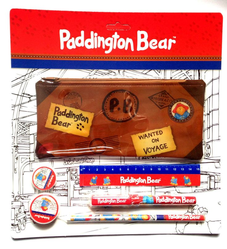Official Paddington Bear School Kit - Pencil Pen Rubber Sharpener Pencil Case