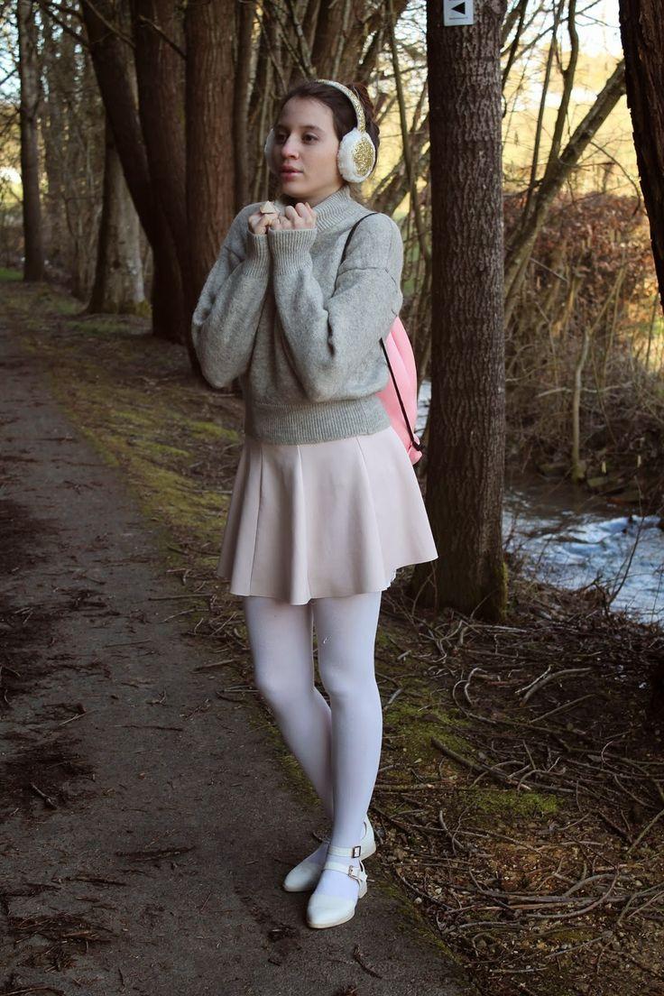 Women S Grey Crew Neck Sweater Beige Skater Skirt White