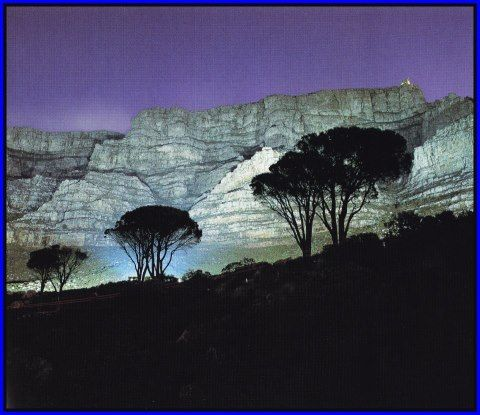 Table mountain at night. Cape Town South Africa