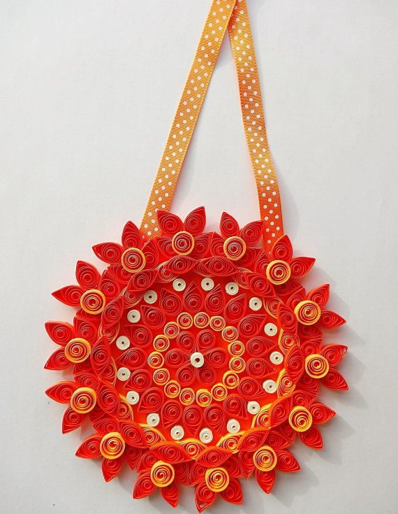 Large Orange paper quilled/quilling flower home decor decorations floral modern Wall art Wall hanging Nursery decor