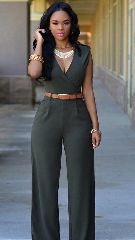 Army Green V Neck Wide Leg Jumpsuits For Women Womens Jumpsuits