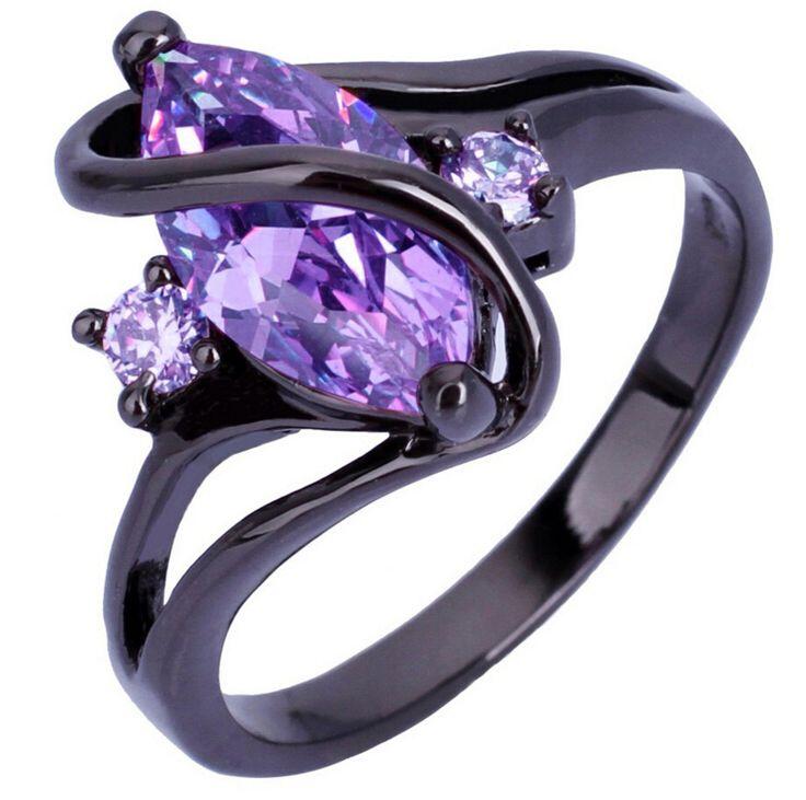 Hot Fashion Luxury Women Wedding Jewelry Vintage Black Gold High Quality Purple Zircon CZ Diamond Oval Crossed Rings anel R134