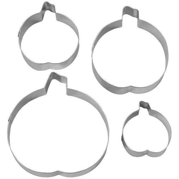 Set 4 Tagliapasta in metallo Zucca Halloween - Dim. da 5,5 cm a 10,5 cm WILTON
