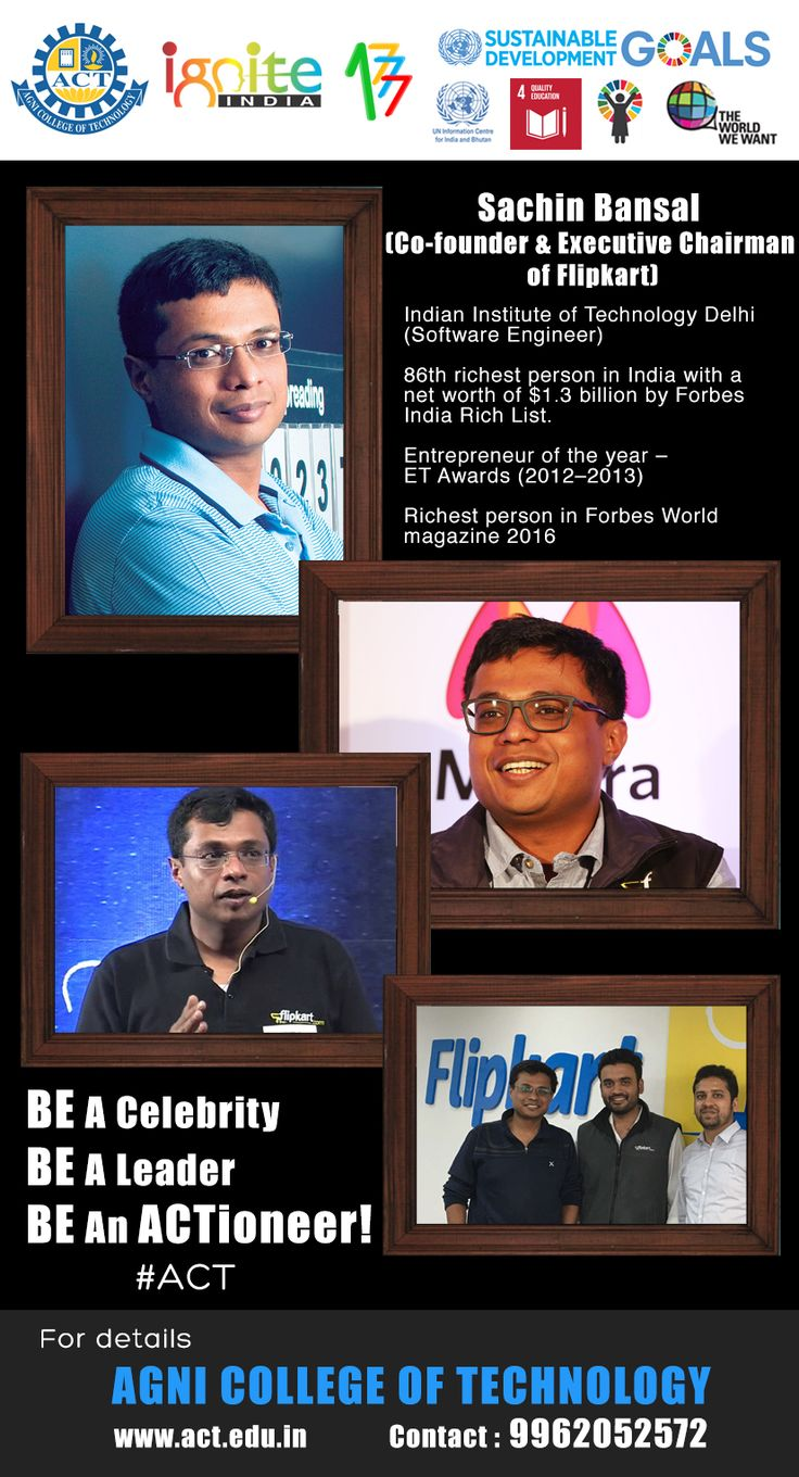 """A Tribute to Sachin Bansal . The short video series! """"BE An ACTioneer"""" is dedicated to the Leaders who are Changing our World in their respective fields! www.act.edu.in #AgnishwarJayaprakash,  #Founder #Ignite #India #IncubationCentre & #AgniFoundation, #ViceChairman #AgniCollegeofTechnology, #DirectorAgniGroup, #ExecutiveProducer #E7hamArivu #TVshow, #UNYouth #Ambassador and #InternationalSwimmerturnedYoungEntrepreneur"""