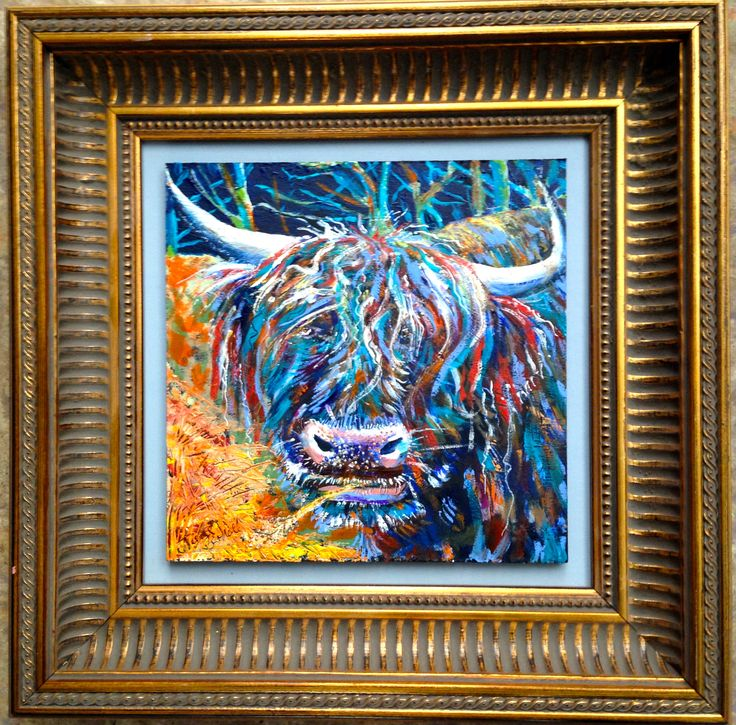 "Recent commission painting 20x20cms then mounted on blue/greay board and framed.  ""Midnight Feast Coo"" Oils and acrylics on board."
