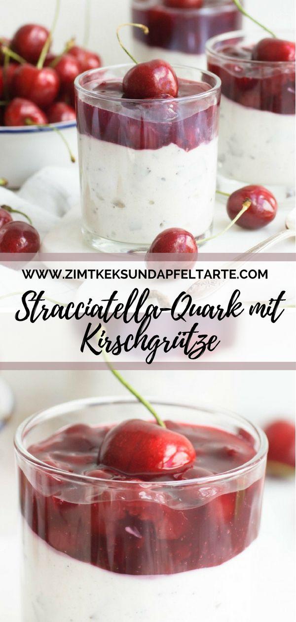 Stracciatella Quarkcreme Mit Kirschgrütze Zimtkeks Apfeltarte