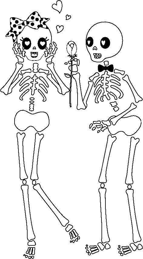 Dibujos de esqueleto para colorear en Halloween , printable skeleton