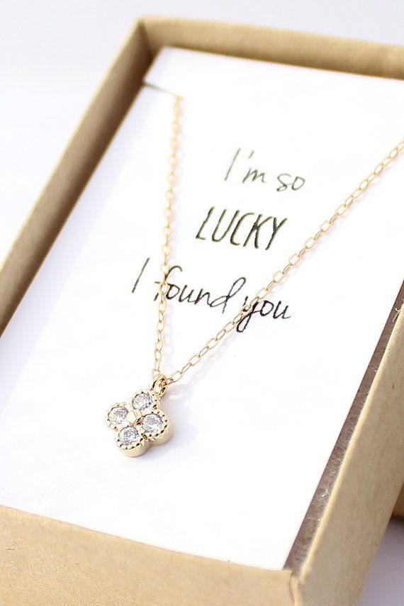 Gold Clover Necklace - Diamond Necklace - Tiny Four Leaf Clover -  Bridesmaid Gift Necklace - Christmas Gift Jewelry - Gift for best friend