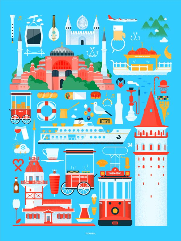 Istanbul illustrated poster
