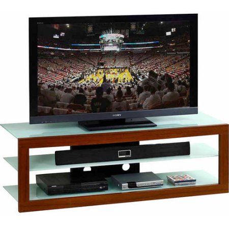 Techni Mobili Frosted Glass and Mahogany TV Stand for LCD TVs up to 65 inch