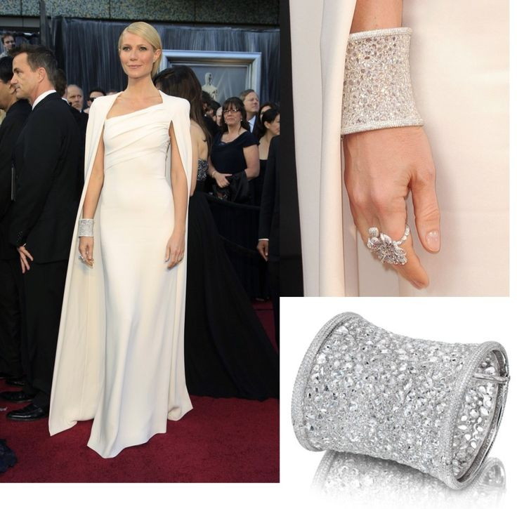 """At the 2012 Oscars Gwyneth Paltrow dazzled in an Anna Hu Haute Joaillerie """"Hearts of Winter"""" cuff bracelet, set with 2,368 brilliant diamonds, and a flower ring. The cuff alone is worth a cool $1 million. #Oscars #oscars2015 #oscarsfashion #oscarjewelry #gwenethpaltrow #gwenethpalthrow #gwenethfashion"""