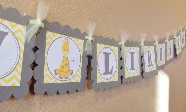 silver and yellow chevron theme baby shower | Baby Name Banner - Yellow & Gray Chevron - Baby Giraffe Theme - Party ...