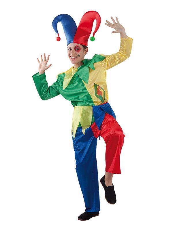 DisfrazMimo, disfraz de bufón colorido niño infantil. Le servirá a tu niño para trasladarse en el tiempo  y convertirse en el personaje de la comedia del arte italiana es sus fiesta de disfraces y fin de curso. Este disfraz es ideal para tus fiestas temáticas de disfraces de payasos del circo,bufones y arlequines para infantiles.