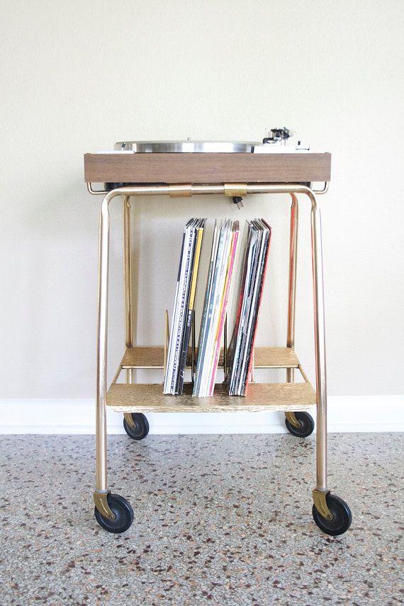 Vintage Metal Record Player/LP Rolling Stand - Vinyl Storage - Brass Record Storage Rack - 1950s Atomic Era