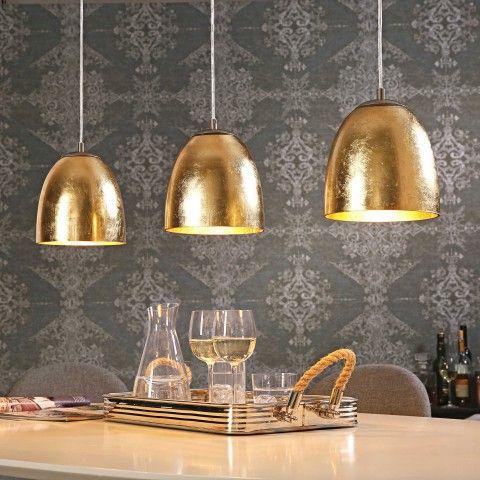 Vintage Pendelleuchte Ontario Nickel Matt Glas goldfarben lackiert Trio LeuchtenLampen Und