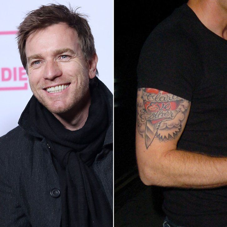 Pin for Later: 12 Celebrity Dads Who Have Sweet Tattoos For Their Kids Ewan McGregor Ewan has an elaborate heart-and-dagger tattoo on his arm in honor of his wife, Eve, and their two daughters, Esther and Clara.