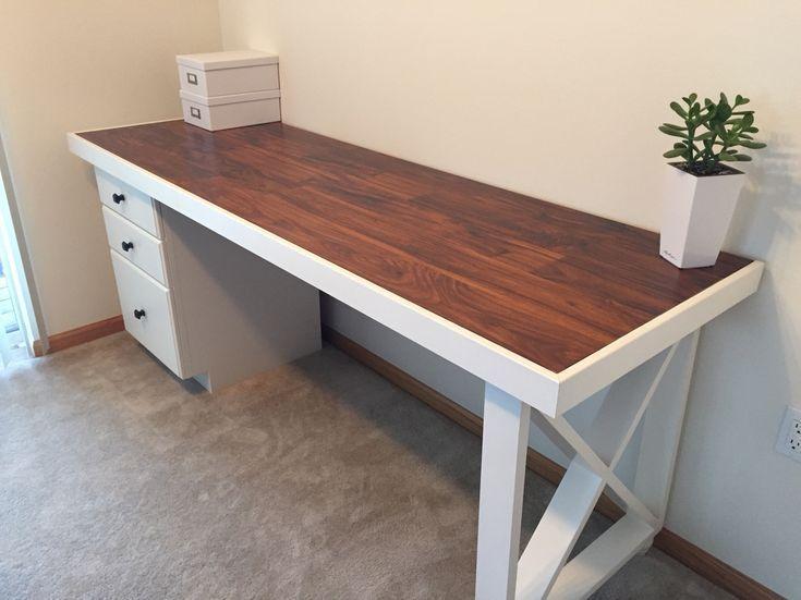 Diy Desk Old Solid Wood Door Topped With Scrap Laminate Scrap Trim Restored Base Cabinet And 2x4 Decorative Leg In 2020 Diy Office Desk Diy Computer Desk Door Desk