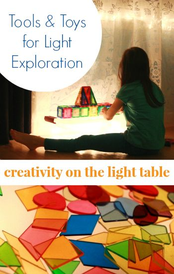 Toys and tools for exploring light and color... Plus tips to make a super simple and inexpensive DIY light table!