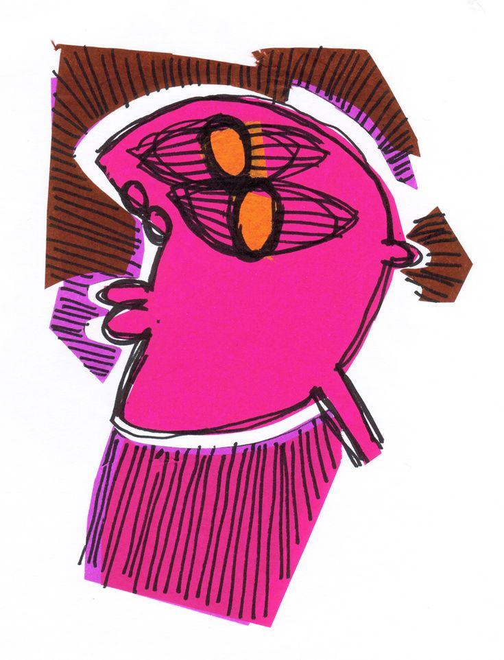 "Rodrigo Gárate Chateau. Parte de la serie ""ROSTROS TRISTES"" (2015). Serie de dibujos de rostros de mirada perdida extrañando la falta de color."