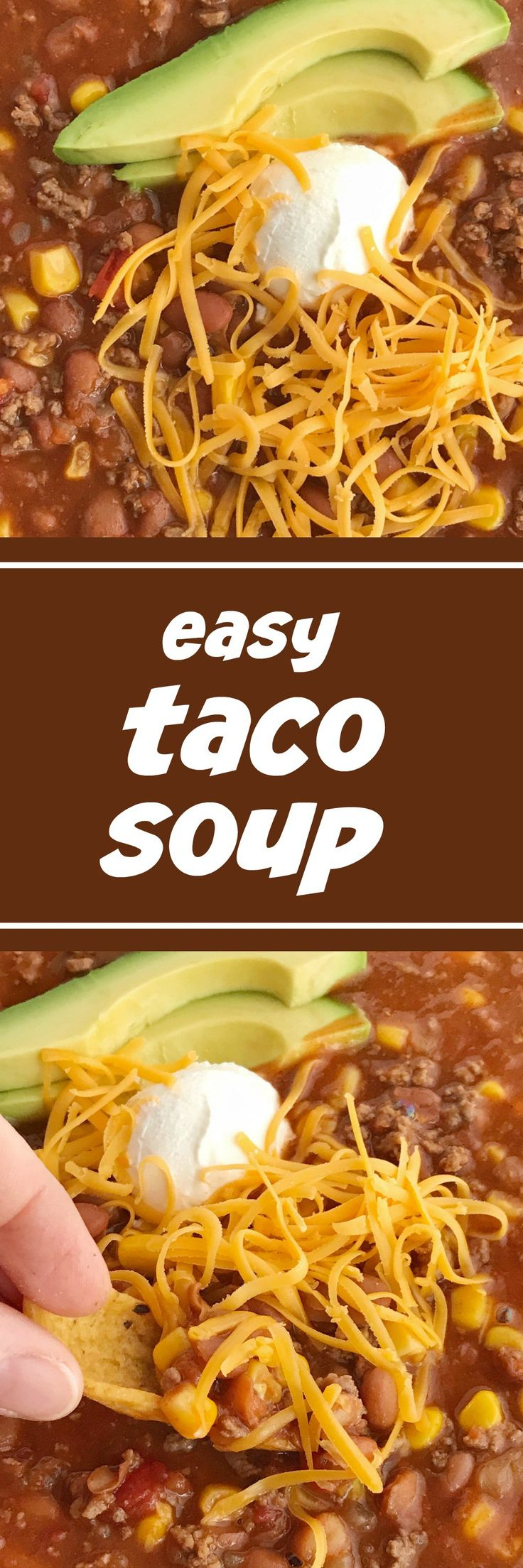 Easy Taco Soup | Easy taco soup is loaded with ground beef, chili beans, corn, and tomatoes. Pile it high with corn chips, sour cream, and shredded cheese. Taco soup is a simple recipe that is so comforting during the cold winter months. One pot and about 30 minutes is all you need for an easy dinner!