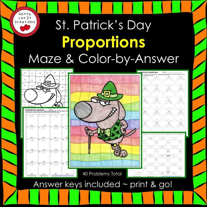 St. Patrick's Day Math Solving Proportions Maze & Color