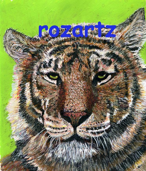 Roz Edwards Original tiger painting. Mixed media. with mount . 10 x 12 by rozartz, £75.00