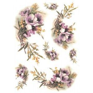 Papír rýžový A4 Anemonky fialkové