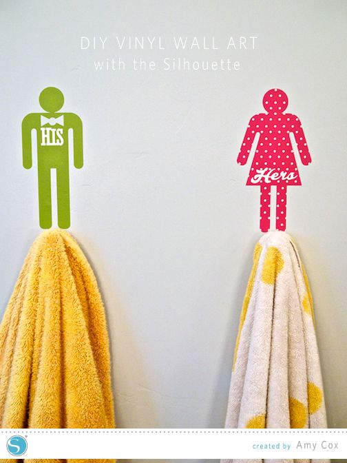 For the kids towels  DIY Vinyl Wall Art