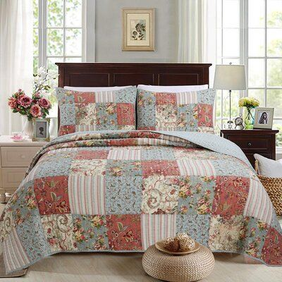 August Grove Roseman Alaina Patchwork Reversible Quilt Set