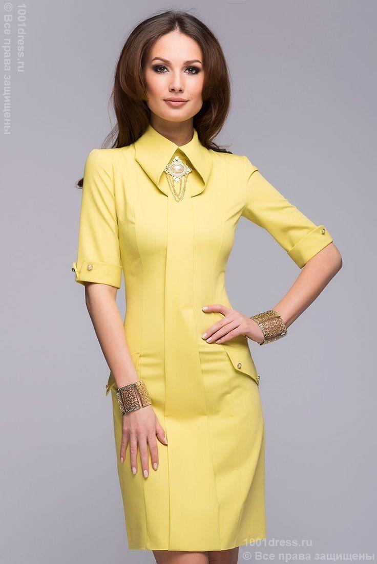 Платье оливковое длины мини c короткими рукавами и брошью. Желтый в интернет магазине Платья для самых красивых 1001dress.Ru