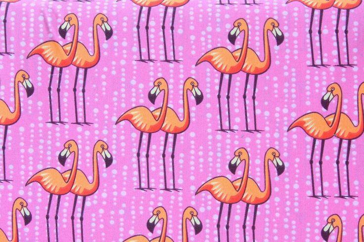 Stoff Tiermotive - Hilco Stoffe - Kamehameha - Flamingo - Pink - ein…
