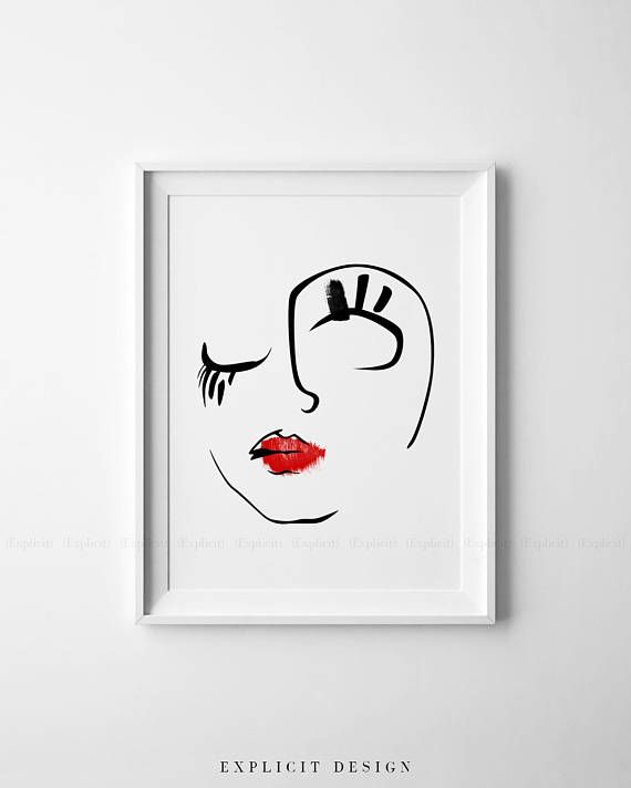 Printable Abstract Beauty Face Drawing, Brush Line Art Print, Red Lips Artwork, Drawn Original Skew Woman Face, Minimalist Feminine Decor – Panja