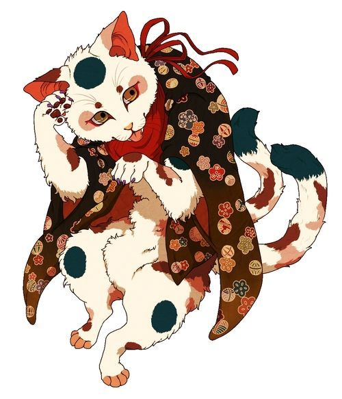 Nekomata, Yokai: One particularly monstrous breed of bakeneko is a two-tailed variety known as nekomata. Nekomata are found in cities and villages, transformed from ordinary cats. They are born in the same way as other bakeneko, though only the oldest, largest cats with the longest tails (and thus more power and intelligence) become this powerful variety. When these cats transform from ordinary animals into yokai, their tale splits down the center into two identical tails.
