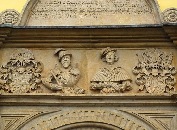 Fragment of renaissance portal of the Chojnice Castle with effigies of Frederick III of Liegnitz-Brieg (Legnica-Brzeg) and his wife Catherine of of Mecklenburg-Schwerin, created between 1546 and 1547 by Franceso de Pario