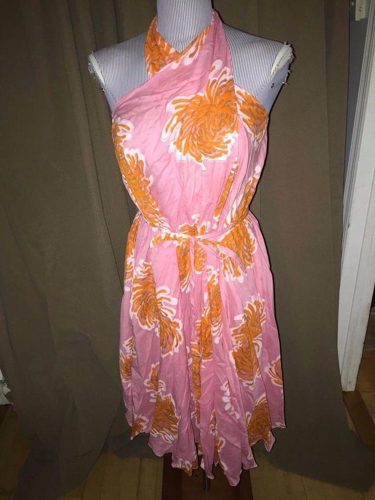 Roberta Roller Rabbit NWT NEW pink orange flower print sarong dress 0/S 1 sz #RobertaRollerRabbit #sarongdress #versatile