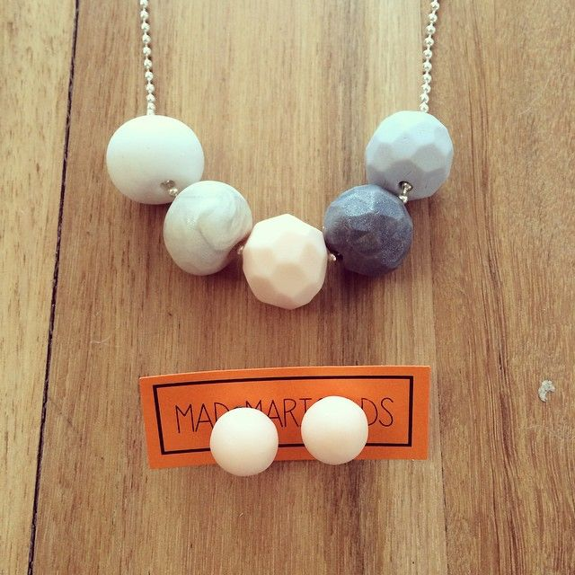 Neutrals necklace and earring set #handmade #handrolled #polymerclay #necklace #earrings #studs #jewellery #instacraft #neutrals #madmarigolds