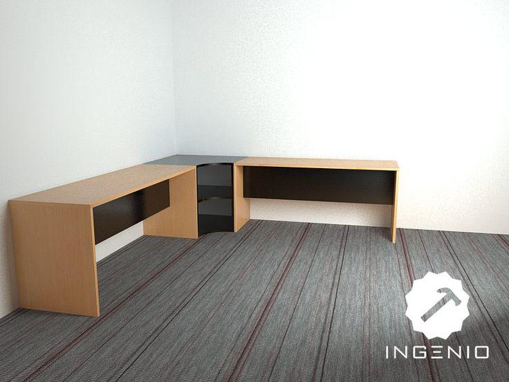 mueble escritorio oficina en forma de l detalles en