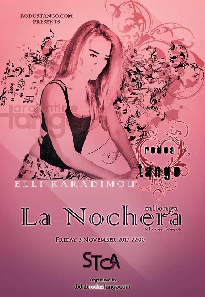 """Εβδομαδιαίαβραδιά αργεντίνικου τάνγκο στην καρδια της Ρόδου. Milonga """"La Nochera""""3 Νοεμβρίου 2017 ..."""