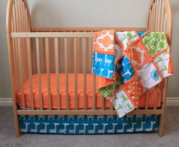 Baby Crib Bedding Set, Bumperless Crib Set, Boy Crib Bedding, Ready To Ship Crib Set on Etsy, $144.31