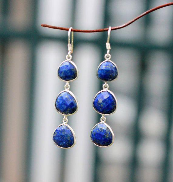 Lapis Lazuli Sterling Silver Checker cut Dangle earring, Christmas Jewelry Gift