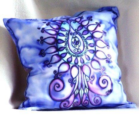 Decorative Pillow Tree of Life pillow throw pillow. by HEraMade #silk_art #silkart #pillow #throw_pillow #silkpainting #handpainted