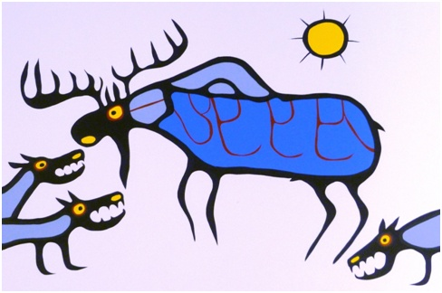 Nature's Balance by Norval Morrisseau.  Part of the Art Gallery of Sudbury's Permanent Collection.