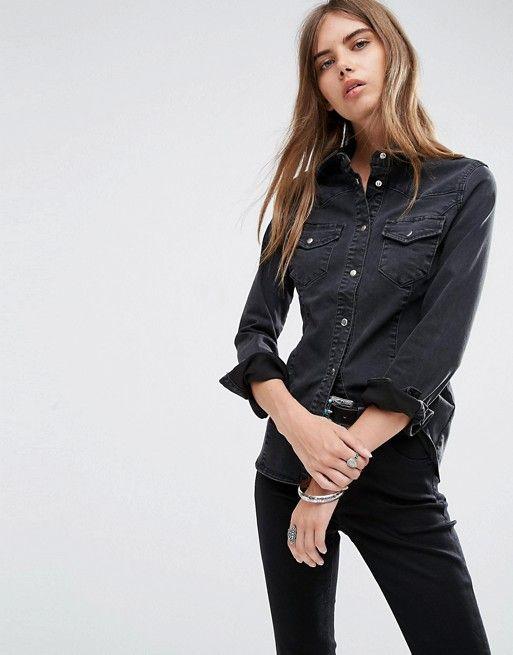 ASOS | ASOS - Chemise western ajustée en jean - Noir délavé