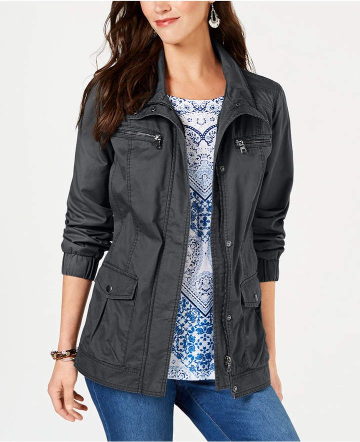 1848bace2a5df Style   Co Cotton Cargo Zip-Front Jacket