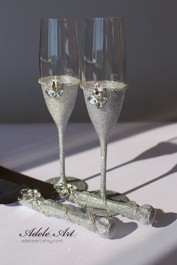 Crystal Clear Rhinestones And Glitter Wedding Flutes Set Champagne Flutes Set For Cake Swarovski Crystals Luxury Champagne Glasses 4pcs Champagne Flute Set Wedding Glasses Wedding Wine Glasses