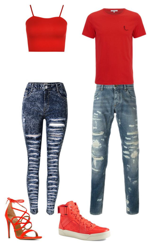 """""""Matching Red Couple"""" by masquerademan on Polyvore featuring WearAll, Aquazzura, Gucci, cute, DateNight and goals"""