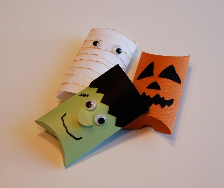 Halloween Pillow Box Set of 3 - Mummy, Frankenstein, Pumpkin - Favor Boxes. $4.50, via Etsy.