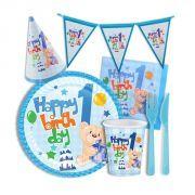1 yaş erkek doğum günü parti seti 93 parça