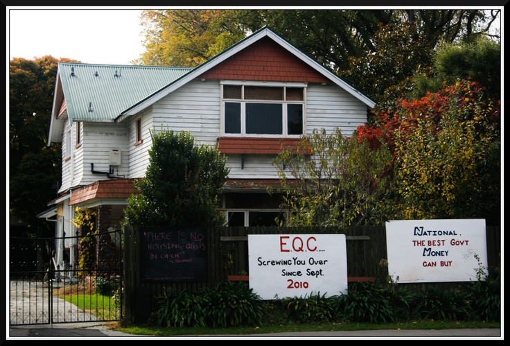 The owner shows their contempt for the EQC and Government about fixing things post earthquake.